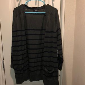 Green and black stripped cardigan